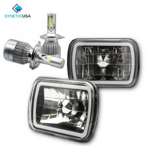 "7""X6""  LED High/Low Beam Headlights Sealed Beam Smoked Lens Halo Ring"
