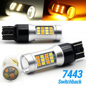 White/Amber 7443 7444 7440 LED DRL Switchback Turn Signal Parking Light Bulbs
