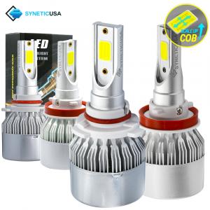 9005+H11 Combo CREE LED Headlight Kit COB Light Bulbs High & Low Beam