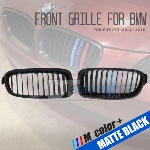 ///M Color BMW 12-16 F30 3 Series 4D Matte Black Front Kidney Grille Grill 2pcs