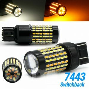 White/Amber 7443 7440 7444 Switchback LED Turn Signal DRL Parking Light Bulbs