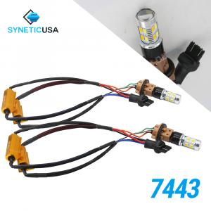 Error Free White/Amber 7443 20-LED Light Bulbs +Resistors Kit