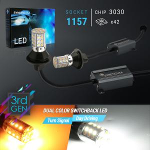 Error Free 1157/2057 Bright Amber/White Switchback 42-LED Bulbs