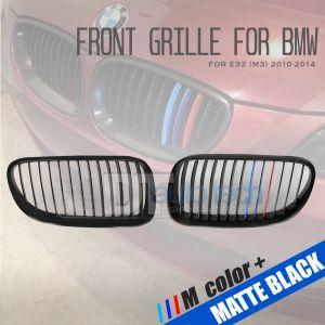 ///M Color BMW 10-13 E92 3Series 2D Matte Black Front Kidney Grille Grill 2pcs