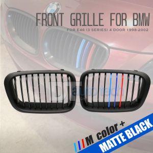 ///M Color BMW 98-02 E46 3-Series 4D Matte Black Front Kidney Grille Grill 2pcs