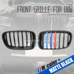 ///M Color BMW 10-14 F25 X3 Matte Black Front Kidney Grille Grill 2pcs