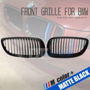 ///M Color BMW 06-10 E92 3Series 2D Matte Black Front Kidney Grille Grill 2pcs
