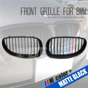 ///M Color BMW 04-10 E60 5-Series 4D Matte Black Front Kidney Grille Grill 2pcs