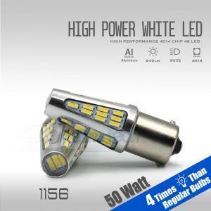 2018 900 Lumens 1156 50W High Power Chip LED White Reverse Back Up Lights Bulbs