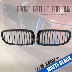///M Color BMW 09-11 E90 3Series 4D Matte Black Front Kidney Grille Grill 2pcs