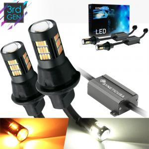 Error Free White/Amber 7443 LED Type 1 Switchback Turn Signal Parking Light Bulbs