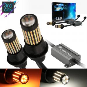 Error Free White/Amber 7443 Standard SRCK LED Switchback Light Bulbs
