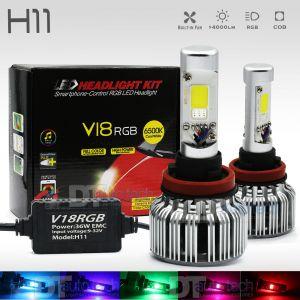 2-in-1 H11 CREE LED Headlight Kit 100W 10000LM +RGB Bluetooth Phone Control
