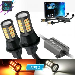 Type 2 Error Free 1157 Switchback LED Turn Signal Parking Light Bulbs White/Amber