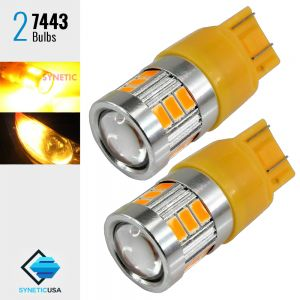2X 40W 7443 LED Amber Yellow Turn Signal Parking DRL High Power Light Bulbs