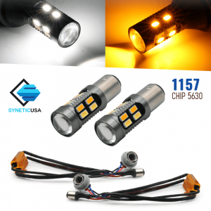 Error Free White/Amber 1157 LED DRL Switchback Turn Signal Parking Light Bulbs