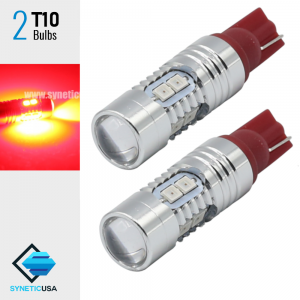 Brilliant Red 2835 T10/194 10-SMD Wedge Base bulb