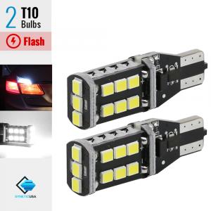 T10/192/168 Flash Strobe White LED High Mount Stop 3RD Brake Light Bulbs