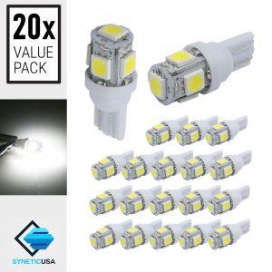 20x T10/194 5-SMD 6000K Xenon White Wedge Base LED Light Bulbs