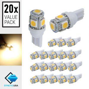 20x T10/194 5-SMD Warm White Wedge Base LED Light Bulbs
