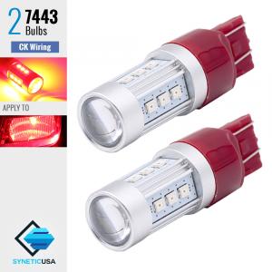 2X 7443 50W SRCK CK Socket High Power LED Red Brake Stop Parking Light Bulbs