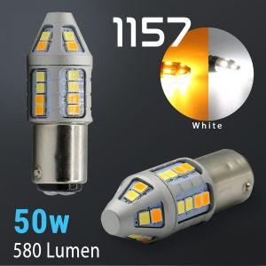 1157 Super Bright 2835 30-LED Dual Color Switchback LED Bulbs